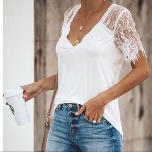 NWT Vici Collection Lace Sleeve Tee Shirt L✨